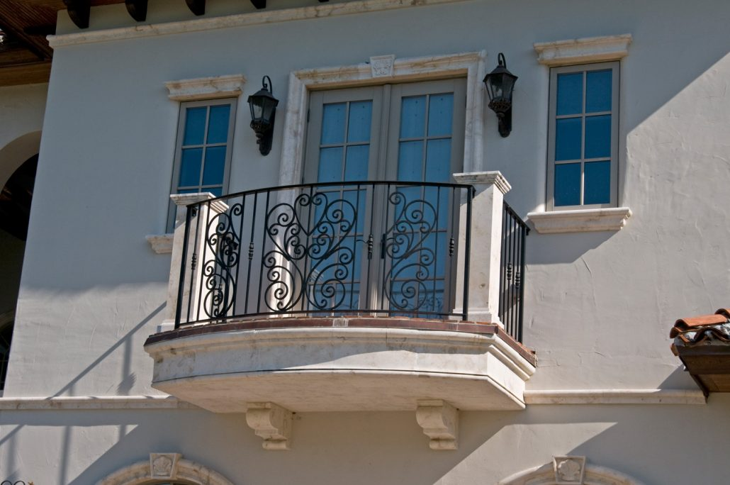 Burden Balcony in Crema limestone