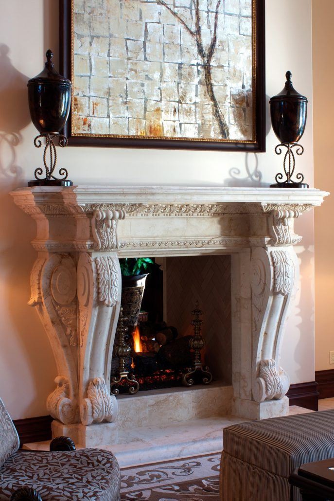 Custom French Provincial Stone Fireplace Mantels