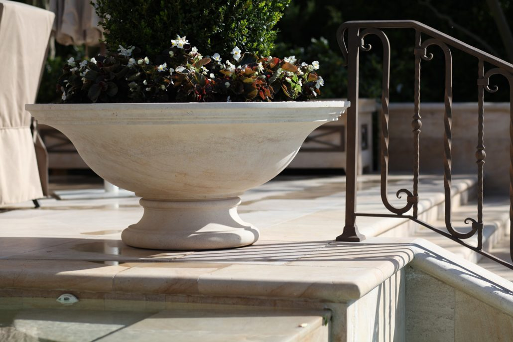 Low Bowl Planter in Beaumaniere limestone