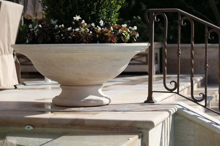 Low Bowl Planter in Beaumaniere limestone