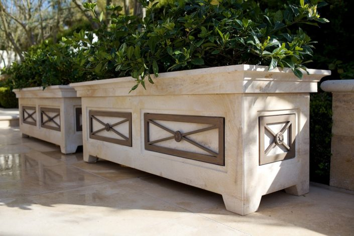 Rectangular Planters in french limestone