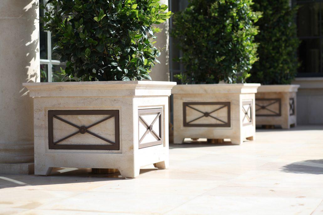 Square Trellis Planters in Beaumaniere limestone