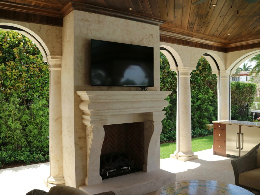 Custom Outdoor Stone Fireplaces BT Arch Stone