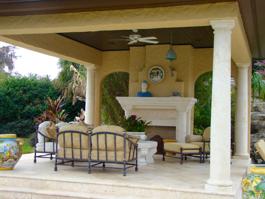 Custom Outdoor Stone Fireplaces