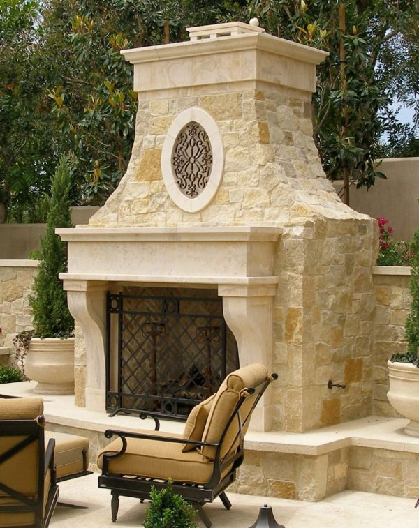 Dugally in Beaumaniere limestone custom stone fireplaces