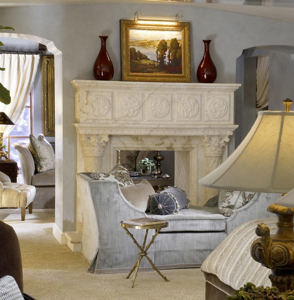 Henley in Crema limestone fireplace mantel