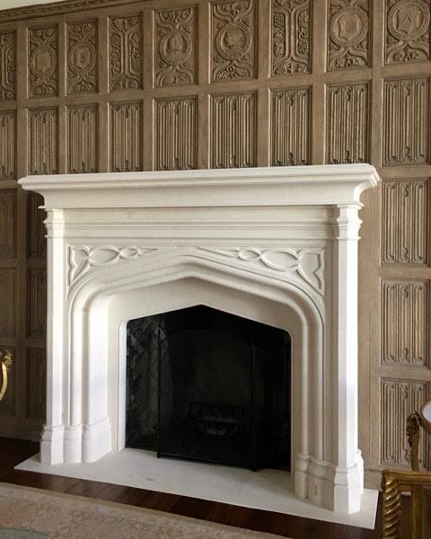 Gothic Mocha Fatima limestone fireplaces