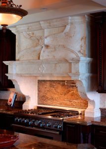 custom stone kitchen hood Villa Laguna